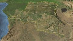Glide over the satellite map of Congo Kinshasa outlined Stock Footage