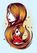 Cute cartoon redhead - stock illustration