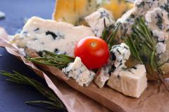 Roquefort cheese composition Stock Photos