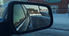 jm1504 Winter Driving SideMirror School Yard - stock footage