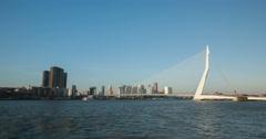 Rotterdam - Erasmus Bridge by Day - 4k Stock Footage