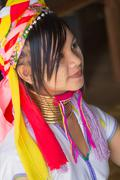 Myanmar Girl of the tribe Kayan (Padaung) in traditional clothing Stock Photos