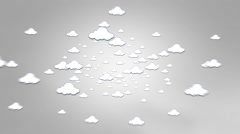 Clouds zoom out of screen on Grey background Stock Footage