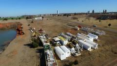 Drilling Rig grave yard Aerial 2 Stock Footage