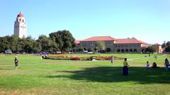 Establishing shot of the Stanford University campus at Palo Alto, California. Stock Footage