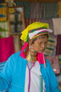Myanmar Woman of the tribe Kayan (Padaung) in traditional clothing - stock photo