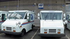 US Post office mail trucks loop Stock Footage