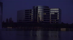 Establishing shot of Oracle Headquarters in Silicon Valley, California at night. Stock Footage