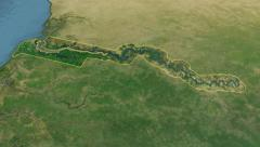 Glide over the satellite map of Gambia outlined Stock Footage