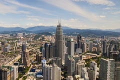 Petronas Twin Tower: Timelapse of Kuala Lumpur from the KL Tower - Zoom Out Stock Footage