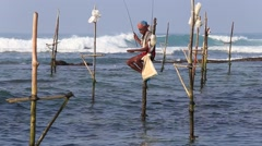 Video 1920x1080  Fishermen are fishing in sea in unique style. Sri Lanka Stock Footage
