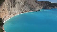 Exotic beach,  mountain coast, blue water, vacation season, tourists holiday. Stock Footage