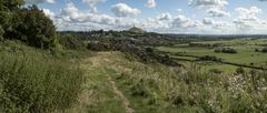 Beautiful landscape view of Glastonbury Tor on Summer day Stock Photos