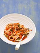 rustic italian calamari in spicy tomato sauce - stock photo