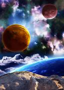 Beautiful space scene with planets and nebula - stock photo