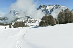 Dolomiti winter landscape, Alta Badia Stock Photos