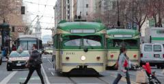 San Francisco streetcar running on Market Street Stock Footage