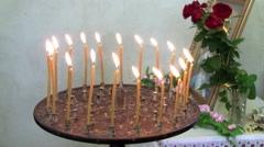 candle holder with candles - stock footage