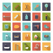 Flat Design Bathroom and Beauty Vector Icons Collection - stock illustration