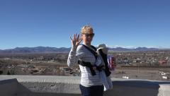 Baby Carrier on Windy Day Stock Footage