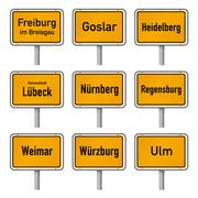 Germany Tourism Highlights City Limits Sign Vector - stock illustration