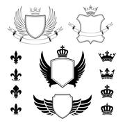 Set of winged shields - coat of arms - heraldic design elements - stock illustration