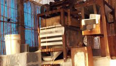 The traditional small rice mill, Thailand Stock Footage