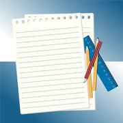 Notepad and pencils vector illustration Stock Illustration