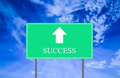 Success Traffic Sign with Blue Sky Stock Photos