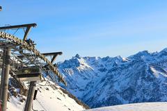 Ski lift in mountains Stock Photos