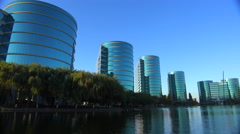 Establishing shot of Oracle Headquarters in Silicon Valley, California in golden Stock Footage