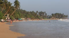 Video 1920x1080 Tropical beach with exotic palm trees and sea water. Sri Lanka Stock Footage