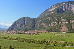 Mezzolombardo and Adige valley - stock photo