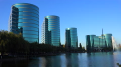 Establishing shot of Oracle Headquarters in Silicon Valley, California in golden Arkistovideo