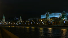 Moscow night, the Kremlin embankment winter Stock Footage