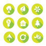 Set of 9 ecology flat icons, design elements Stock Illustration