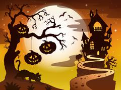 Spooky tree topic image 3 - stock illustration