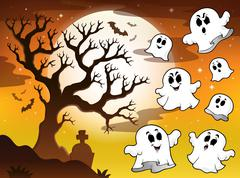 Spooky tree topic image 2 - stock illustration