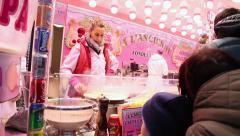 "Woman preparing the famous French ""Crepe"" in Paris Stock Footage"