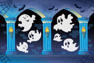 Stock Illustration of Haunted castle interior theme 8