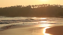 Video 1920x1080 Beach and sea wave at Mirissa during sunset, Sri Lanka. Stock Footage
