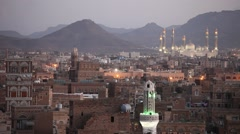 Old Sanaa view at dusk and Al-Saleh Mosque, Yemen €œ - stock footage