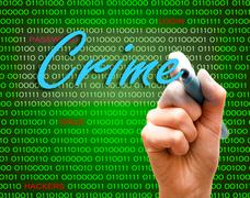 Marker hand writing protect password cyber crime caution binary text - stock illustration