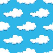Seamless background with cute cartoon clouds Stock Illustration