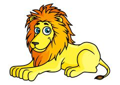 Cartoon yellow lion lies on front paws Stock Illustration