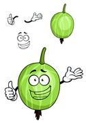Cartoon green striped gooseberry fruit Stock Illustration