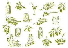 Green fresh, pickled olives and olive oil symbols Stock Illustration