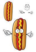 Cartooned smiling hot dog for fast food design - stock illustration