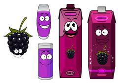 Cartoon happy blackberry juice characters Stock Illustration