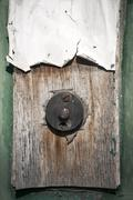 Grunge doorbell button - stock photo